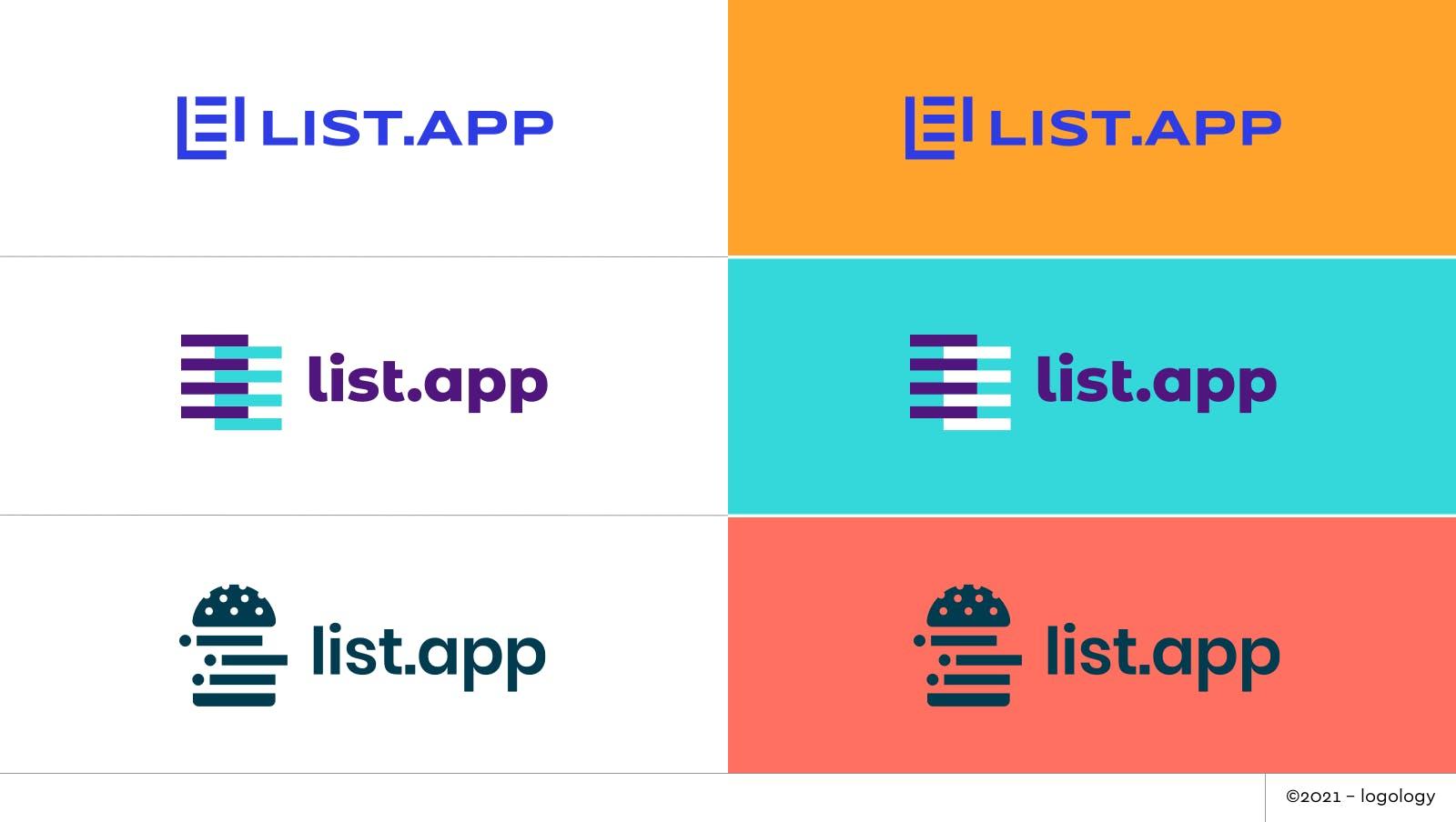 list.app logo proposals recap
