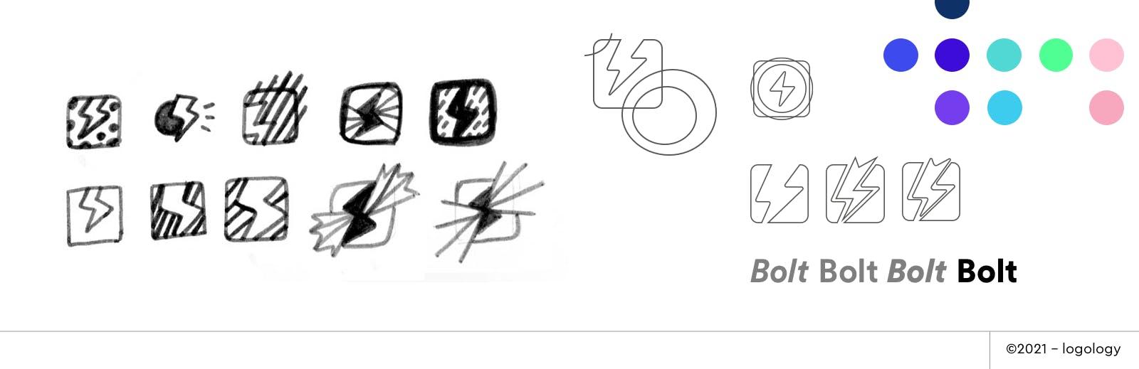 bolt logo design sketches