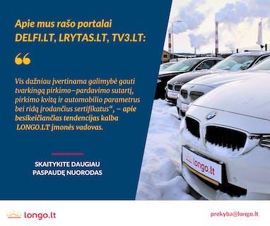 """Apie sertifikuoto naudotų automobilių pardavėjo """"Longo LT"""" užsakymu atlikto tyrimo duomenis skaitykite plačiau čia: - DELFI.lt - https://bit.ly/3apEUqn - lrytas.lt - https://bit.ly/3ao600N - TV3.lt - https://bit.ly/3pqmppY  LONGO.LT - didžiausias naudotų automobilių pardavėjas Baltijos šalyse! Skambinkite 52030012 arba WhatsApp - 65837196, prekyba@longo.lt"""