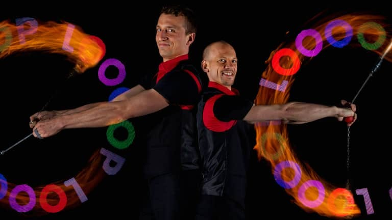LED-fireshow at a company event