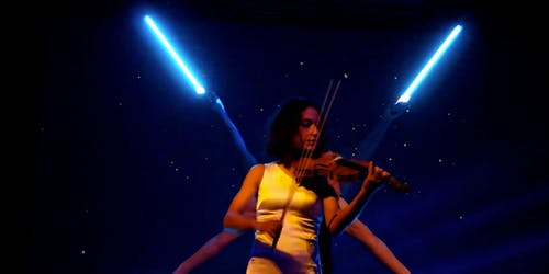 Live violin with pixel poi duo.