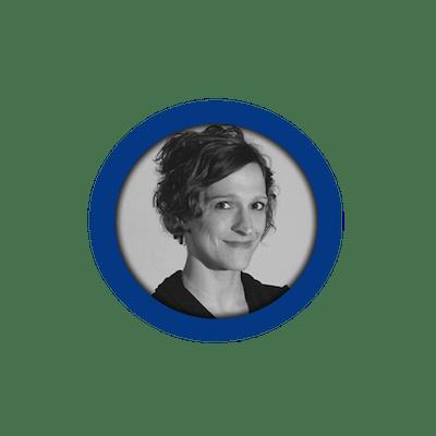 Black/white profile image of member Christina in a blue circle.