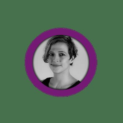Black/white profile image of member Hanna in a purple circle.