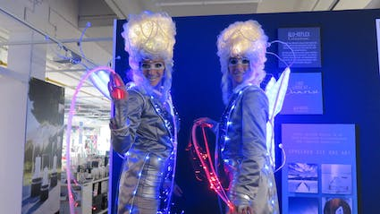 LED stilt walking-act at a shopping mall.