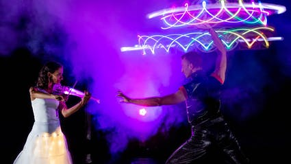 LED-Light-Show with Live-Violinist and LED-Dancer.