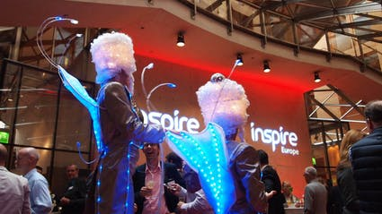 LED-Walkact with stilts at a corporate event.