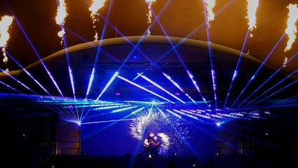 Fire-Lasershow on big stage at public event.