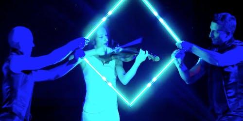 Katharina Garrard live violin pixel poi show.