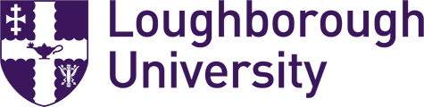 Loughborough University logo, with a crest to the left in the shape of a shield with a cross on.