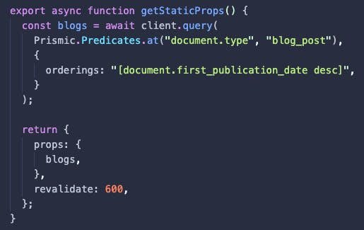 getStaticProps function