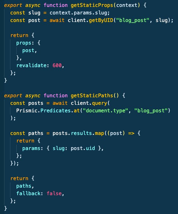 Next.js SSG using the getStaticProps and getStaticPaths functions