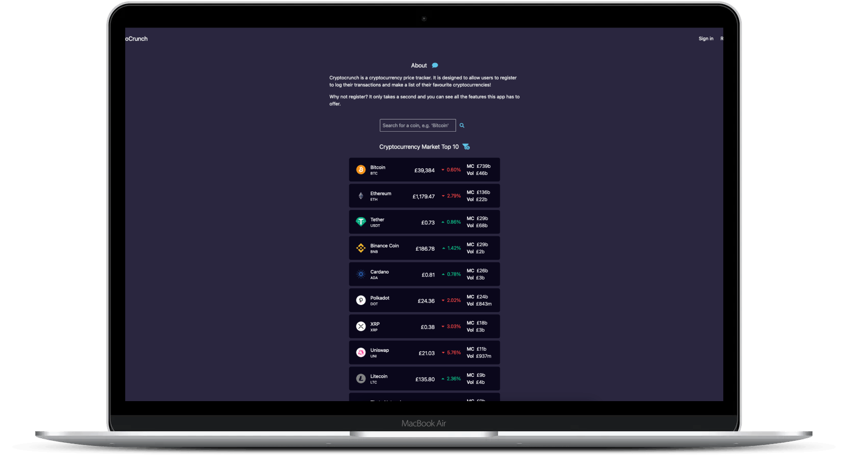 CryptoCrunch Price Tracker