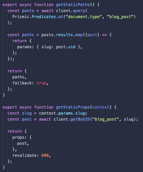 getStaticPaths and getStaticProps function