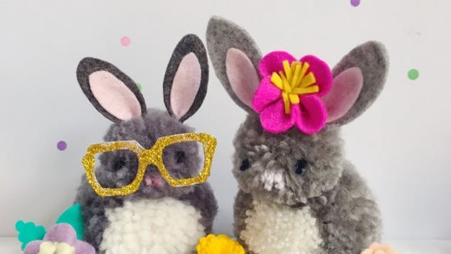 pom pom bunny project with felt ears