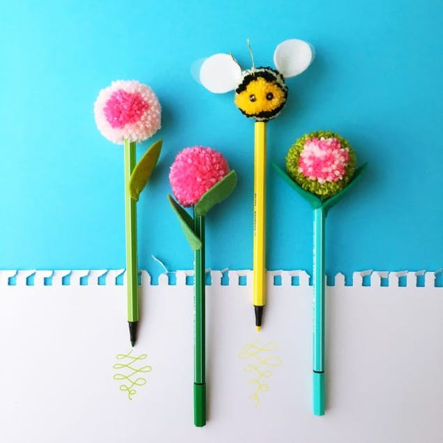 bee shaped Pom poms to place on your pencils