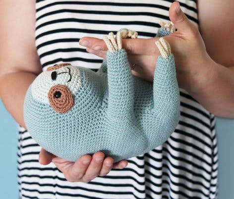ollie the sloth crochet amigurumi pattern by irene strange
