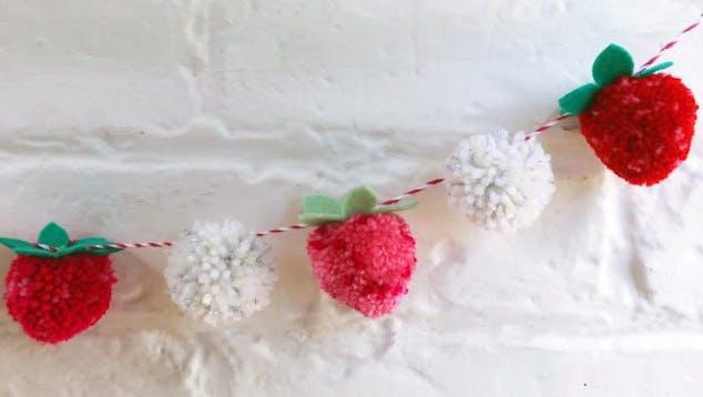 strawberry pom pom garland