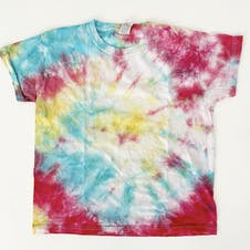 tie dye t-shirt laid flat