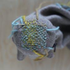 Darning weaving method step 7