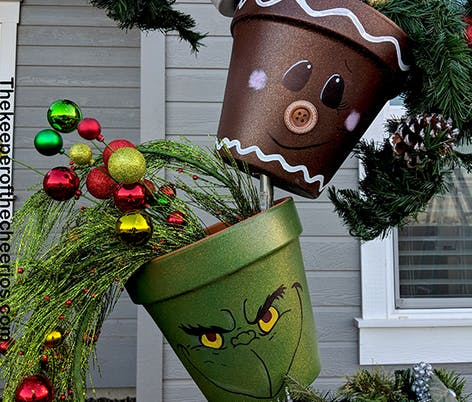 Christmas topsy turvy pots for your porch