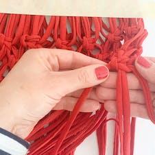 Step 14: Row 4 of macrame bag
