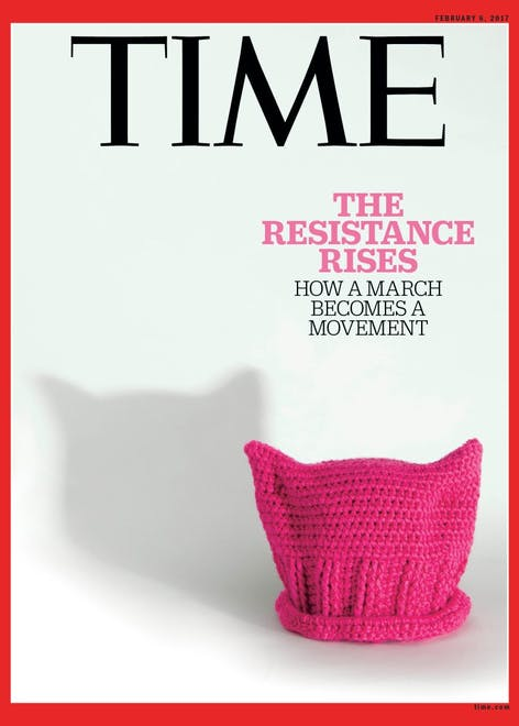 Time Magazine highlights the Pussy Power Hat during the Women's March of 2017, potentially the US' largest single day protest.
