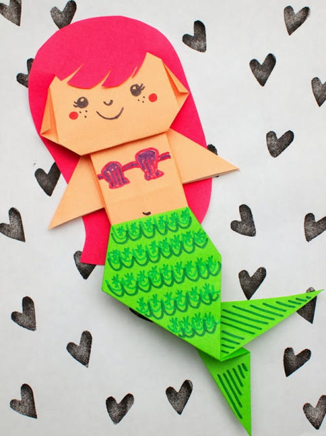 Colourful paper origami mermaid