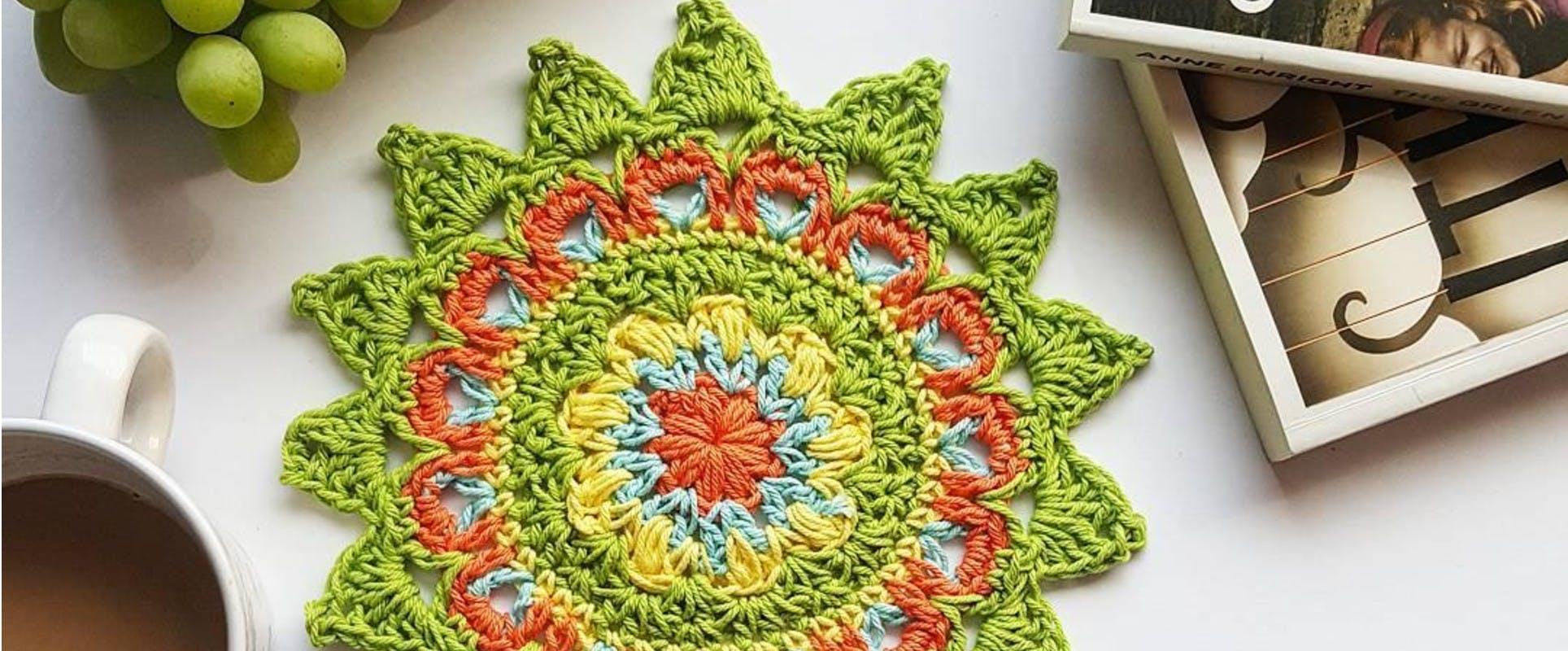 No sew mandala blanket crochet pattern Mandala design crochet throw pattern Scrap buster pattern Mandala motif crochet afghan pattern