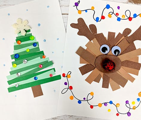 kid's christmas card idea with layered coloured card in the shape of a christmas tree and Rudolph with embellishments around