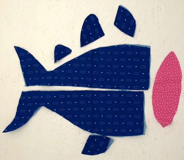 Cut pieces of fabric for soft toys
