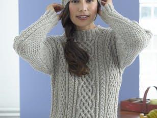 Inishturk Sweater and Tam in Lion Brand Fishermen's Wool - 90047AD