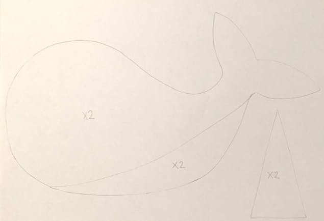 Narwhal sewing pattern outline