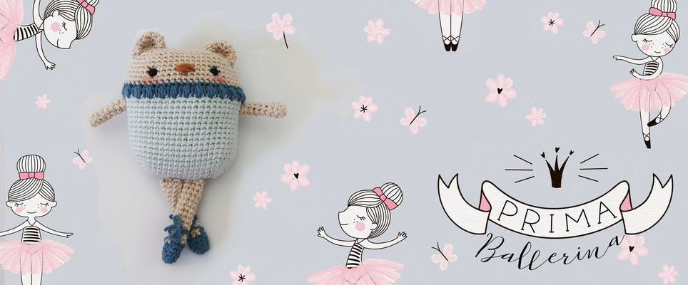 Ballerina Bear amigurumi with grey and pink flower background and other ballerina illustrations