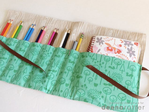handmade pencil and notebook case
