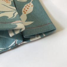 Close up of folded fabric to create drawstring channel