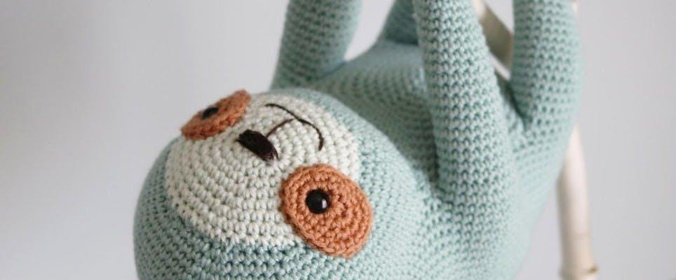ollie the sloth crochet amigurumi pattern by irene strange
