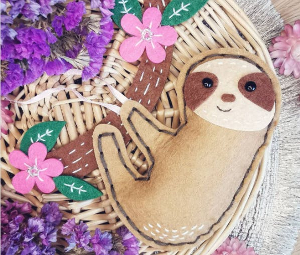 hand sewn sloth complete craft kit