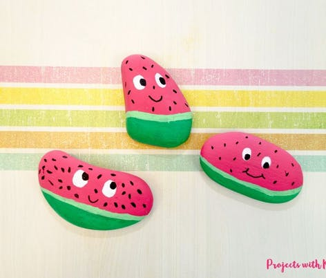 watermelon painted rocks for kids