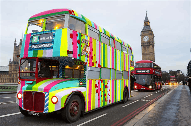 London red bus yarn bomb sponsored by 7up