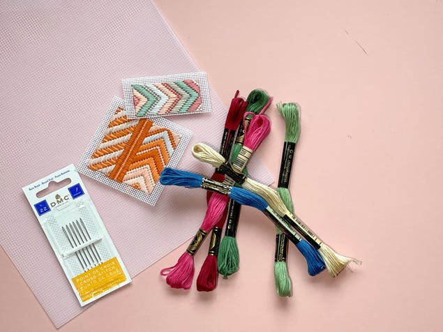 Bargello embroidery floss and supplies