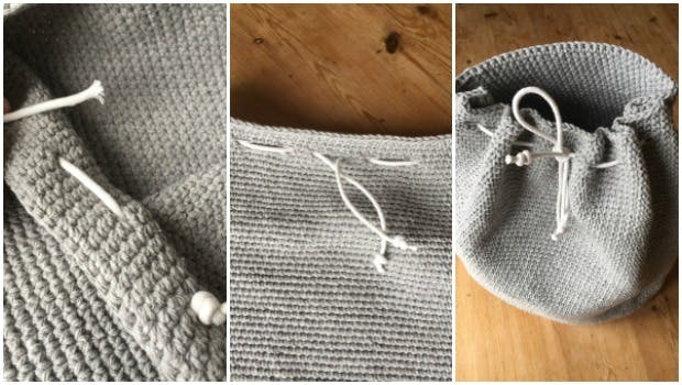 Add string for drawstring to your crochet bag