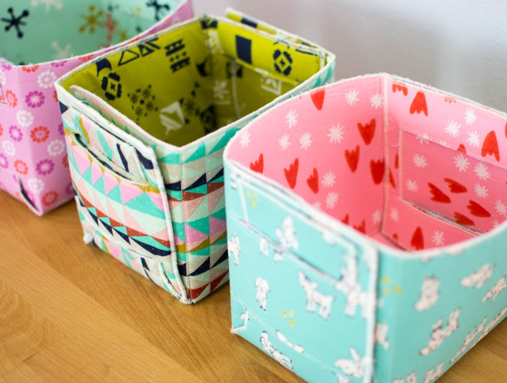foldable sewing boxes made from fat quarters