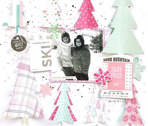 winter scrapbook page with christmas trees