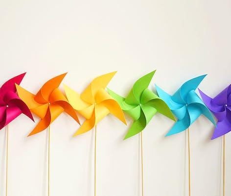 multicoloured pinwheels