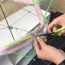 wrap yarn to your swift and cut ties
