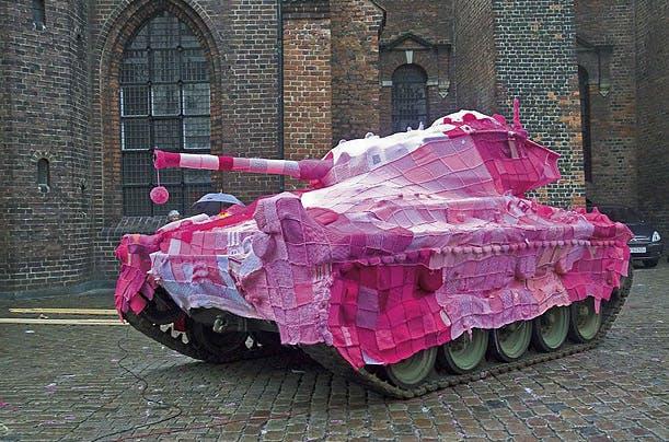 Denmark camouflage tank pink yarn bomb