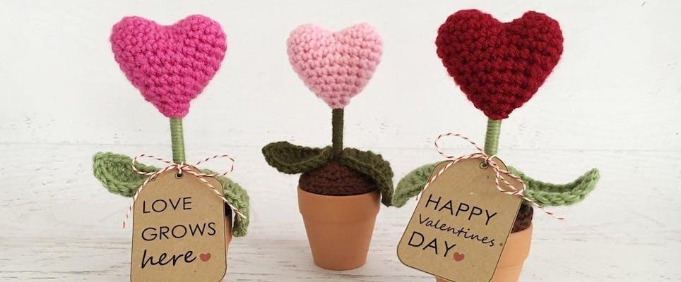 cute crochet love hearts