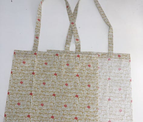 Piecing your DIY tote bag together.