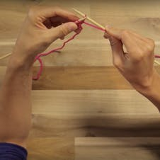 how to purl: slip the loop off the needle