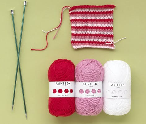 Paintbox cotton 4 ply pink and red knitting swatch